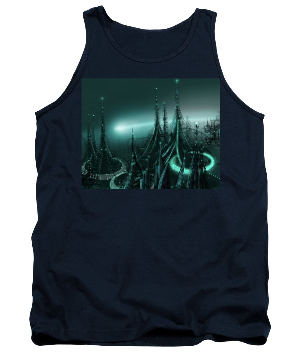 Cityscape Tank Top featuring the digital art Utopia by James Christopher Hill