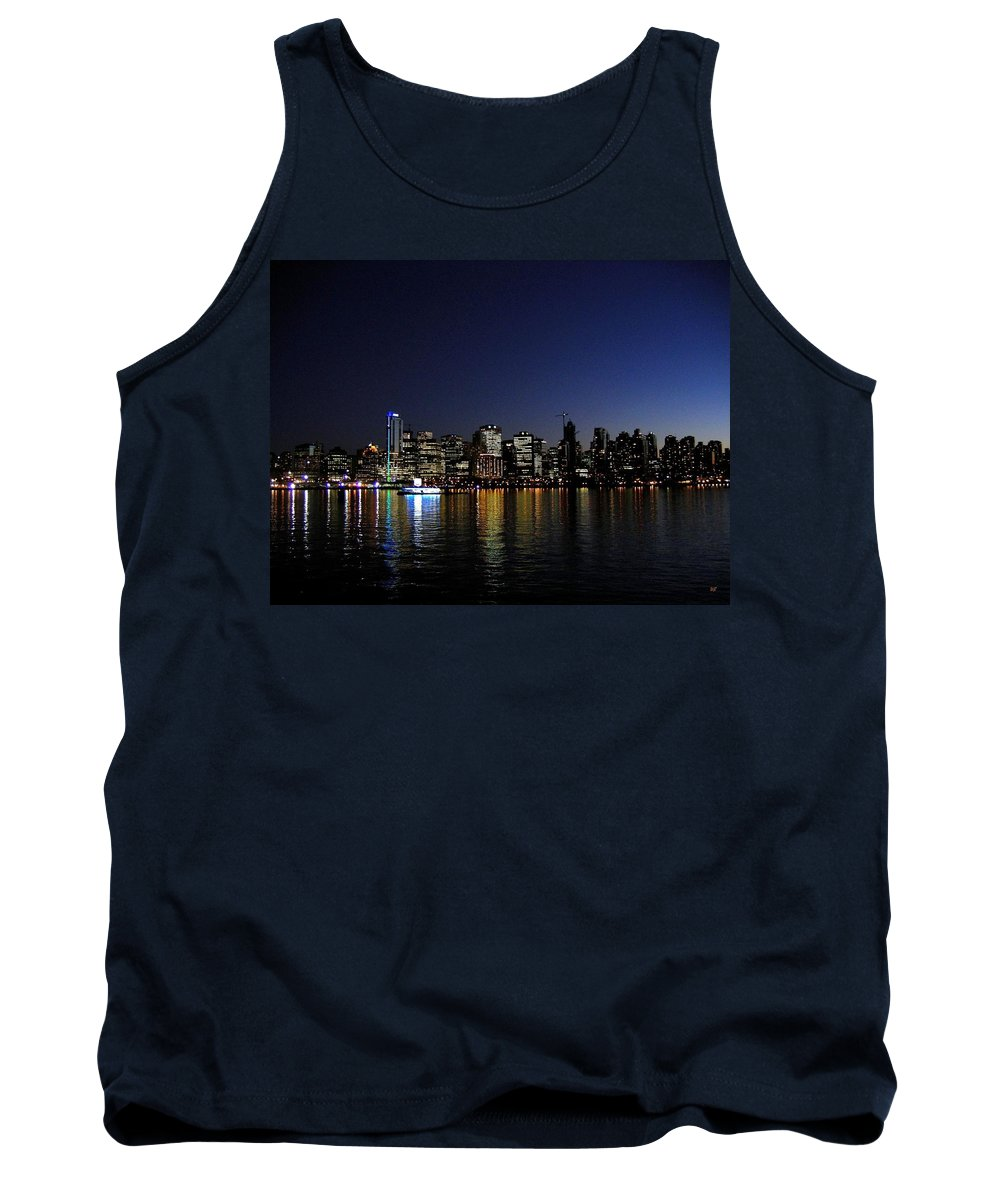 Night Scape Tank Top featuring the photograph Vancouver Night Lights by Will Borden