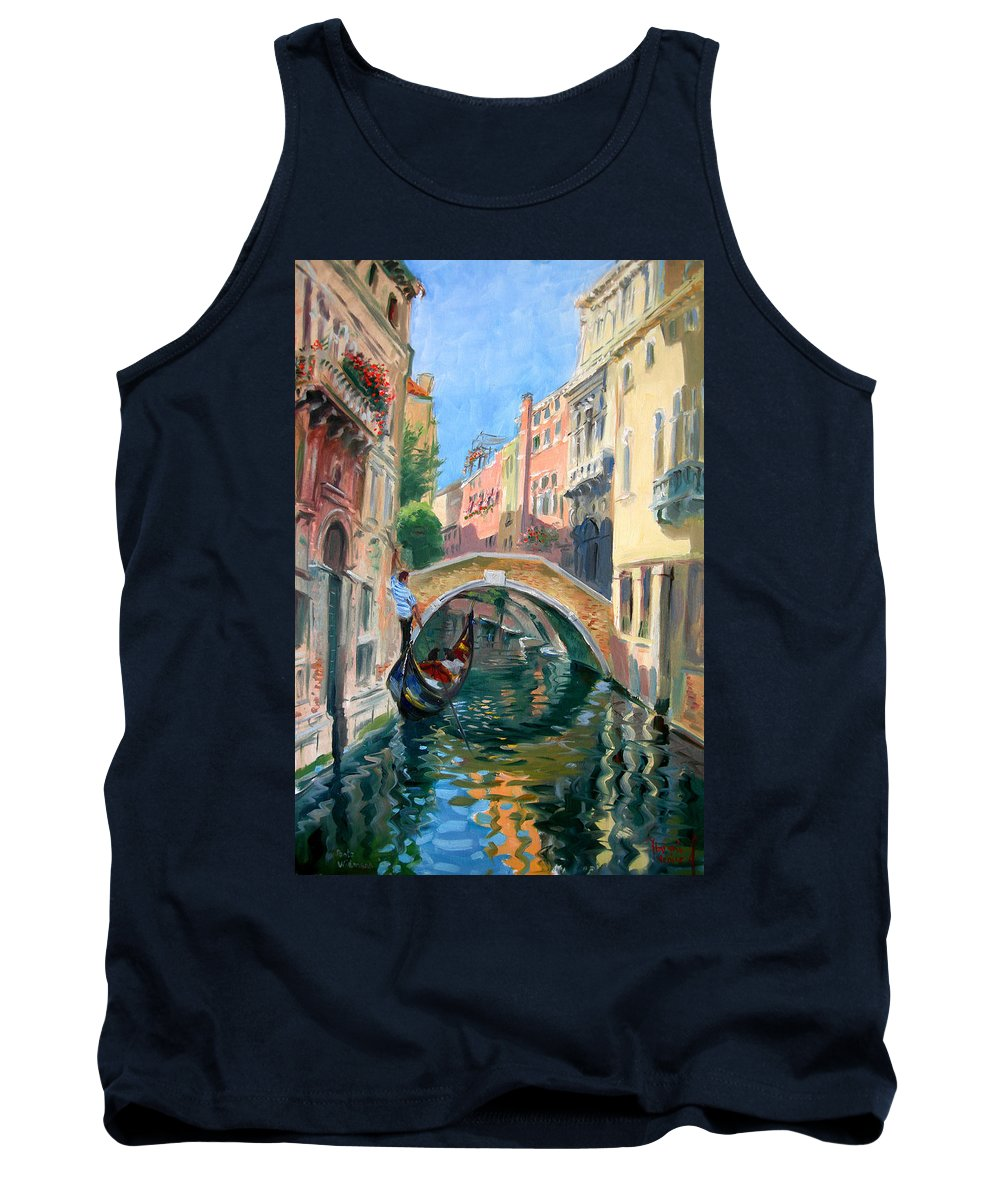 Venice Tank Top featuring the painting Venice Ponte Widmann by Ylli Haruni