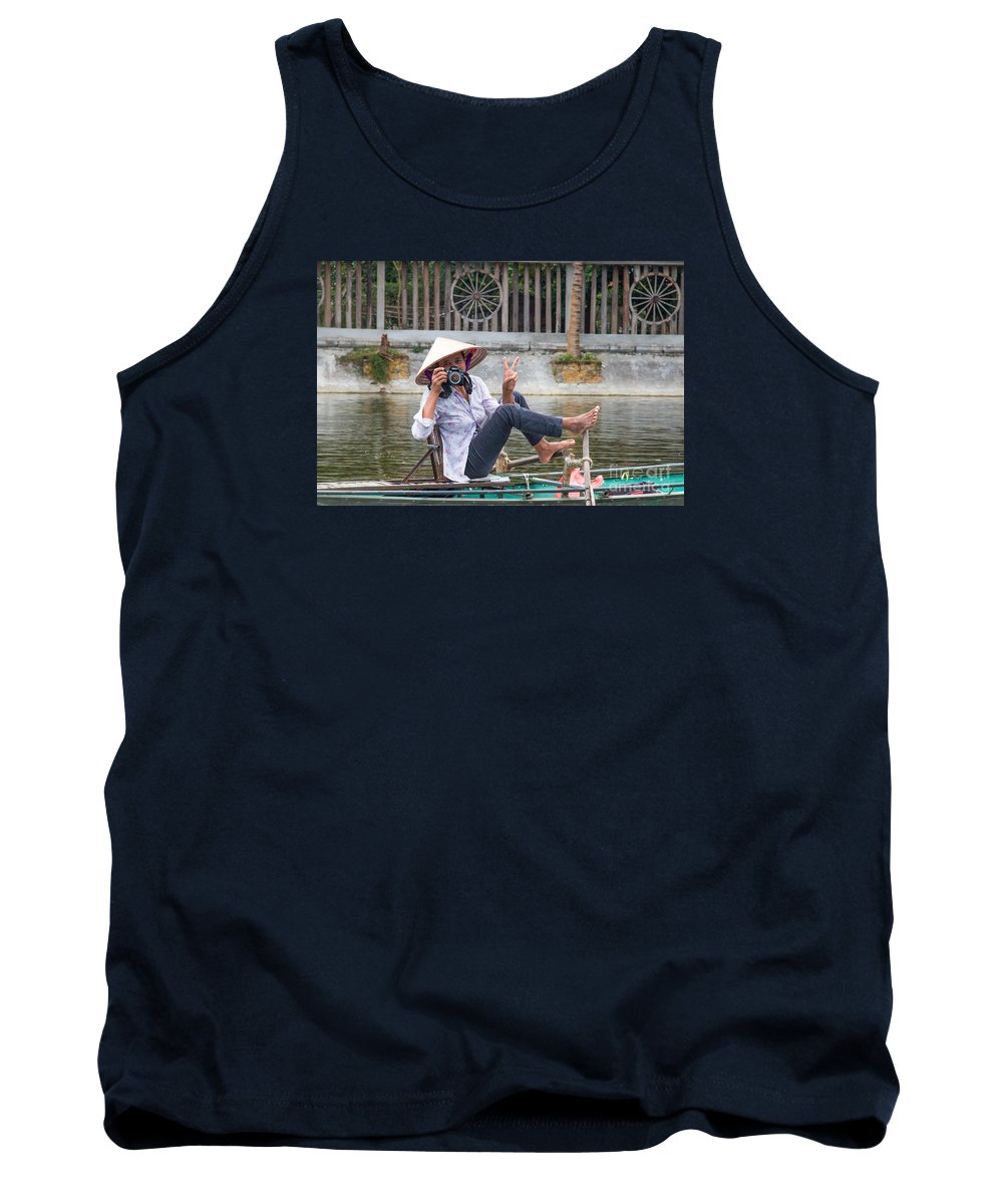 Asia Tank Top featuring the photograph Vietnamese Lady Photographer At Tam Coc by Martin Berry