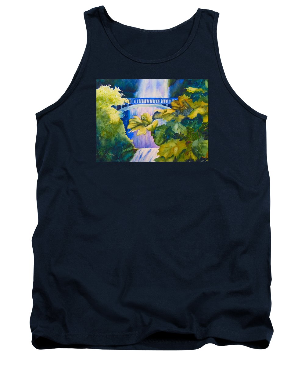 Waterfall Tank Top featuring the painting View of the Bridge by Karen Stark