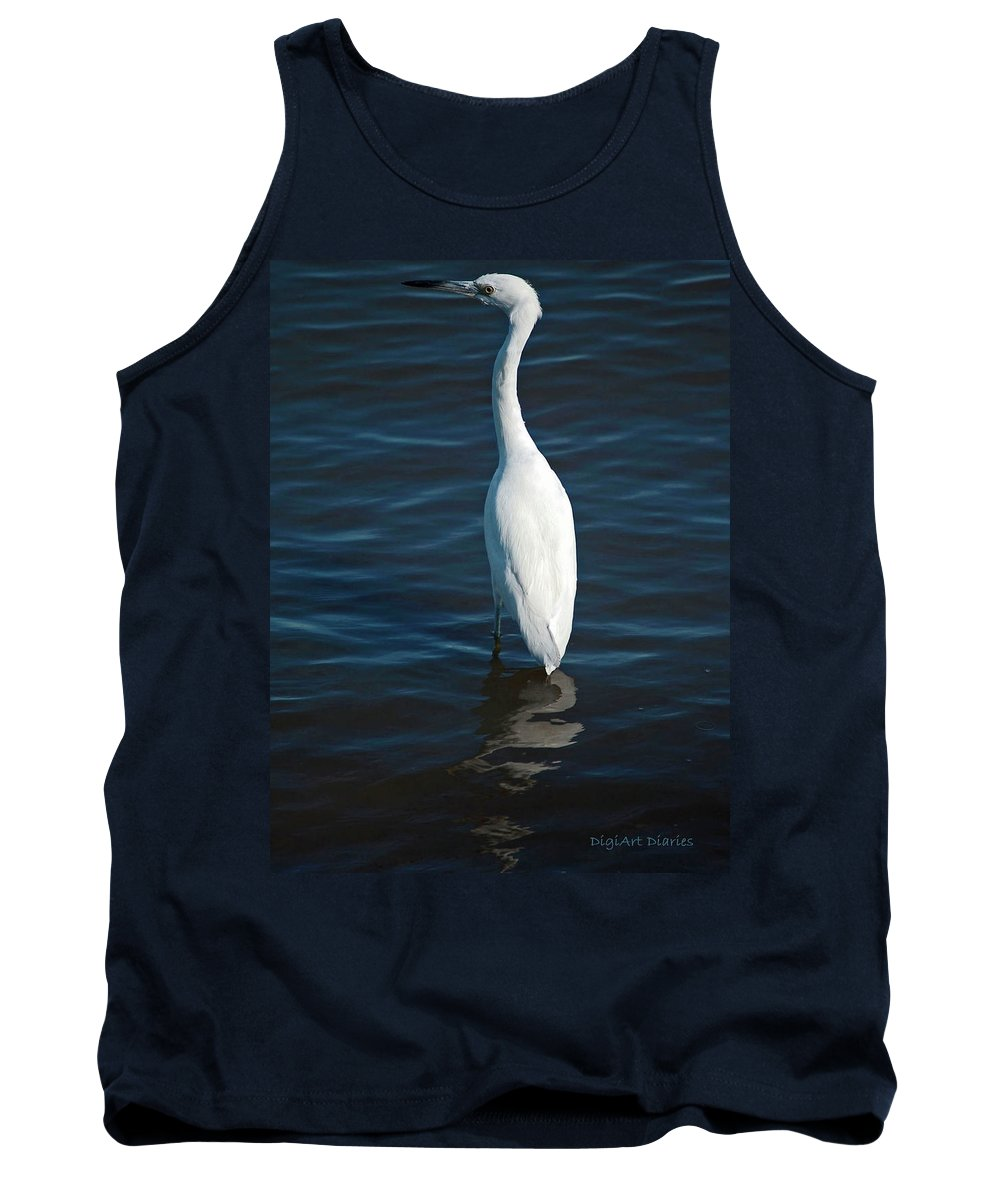Bird Tank Top featuring the digital art Wading Reflections by DigiArt Diaries by Vicky B Fuller