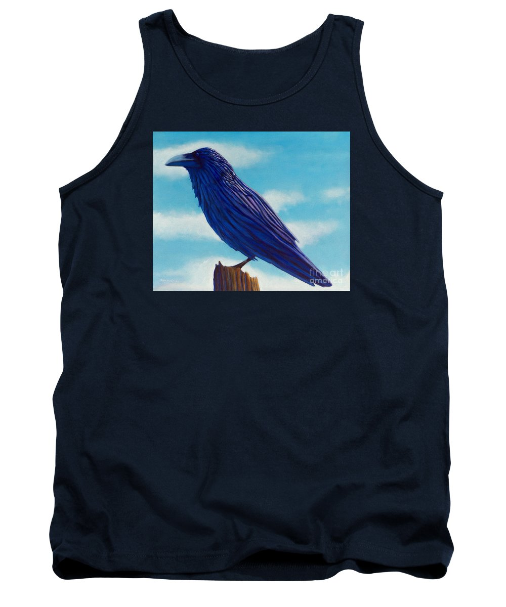 Raven Tank Top featuring the painting Waiting by Brian Commerford