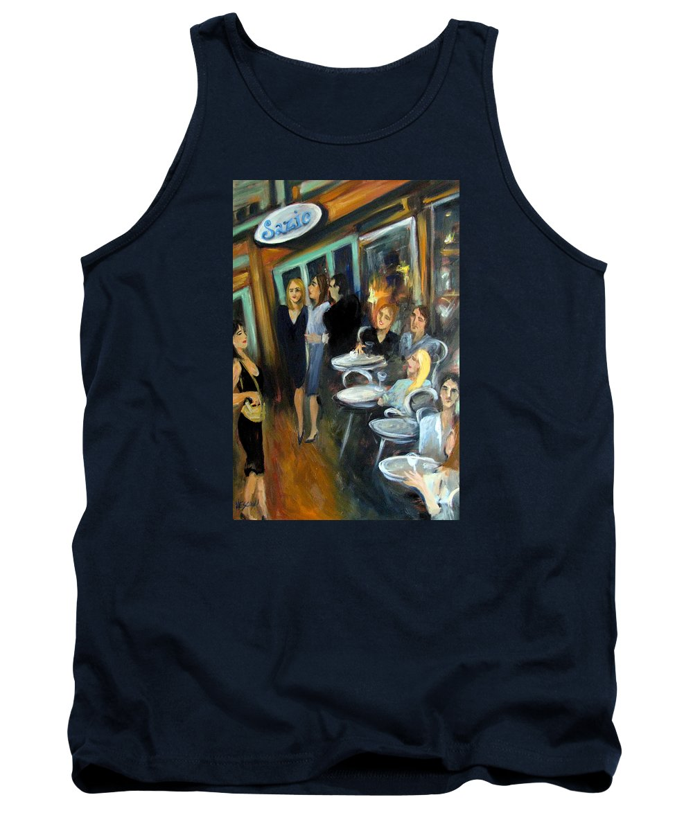 Sidewalk Cafe Tank Top featuring the painting Waiting For A Table by Valerie Vescovi