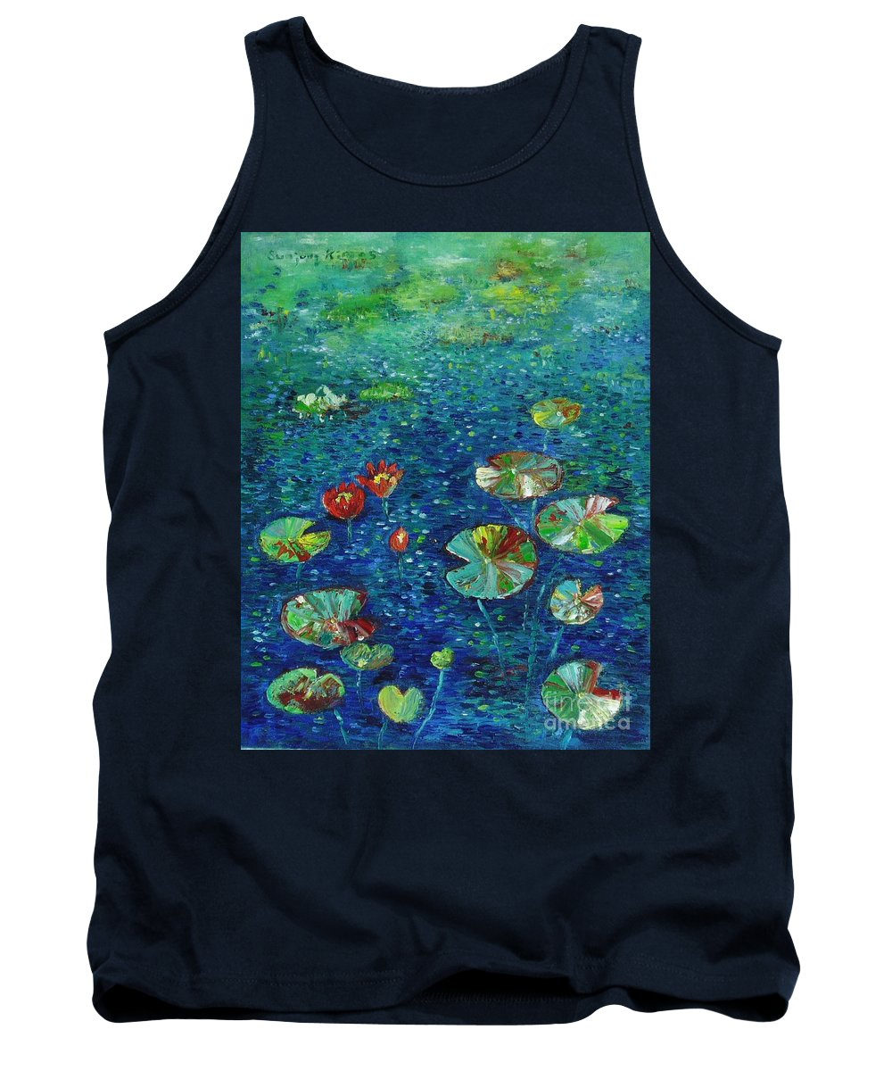 Lotus Paintings Tank Top featuring the painting Water Lily Lotus Lily Pads Paintings by Seon-Jeong Kim