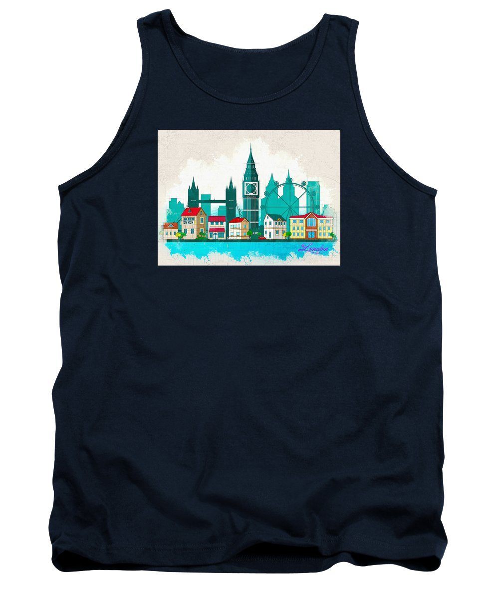 Poster Tank Top featuring the digital art Watercolor Illustration Of London by Don Kuing