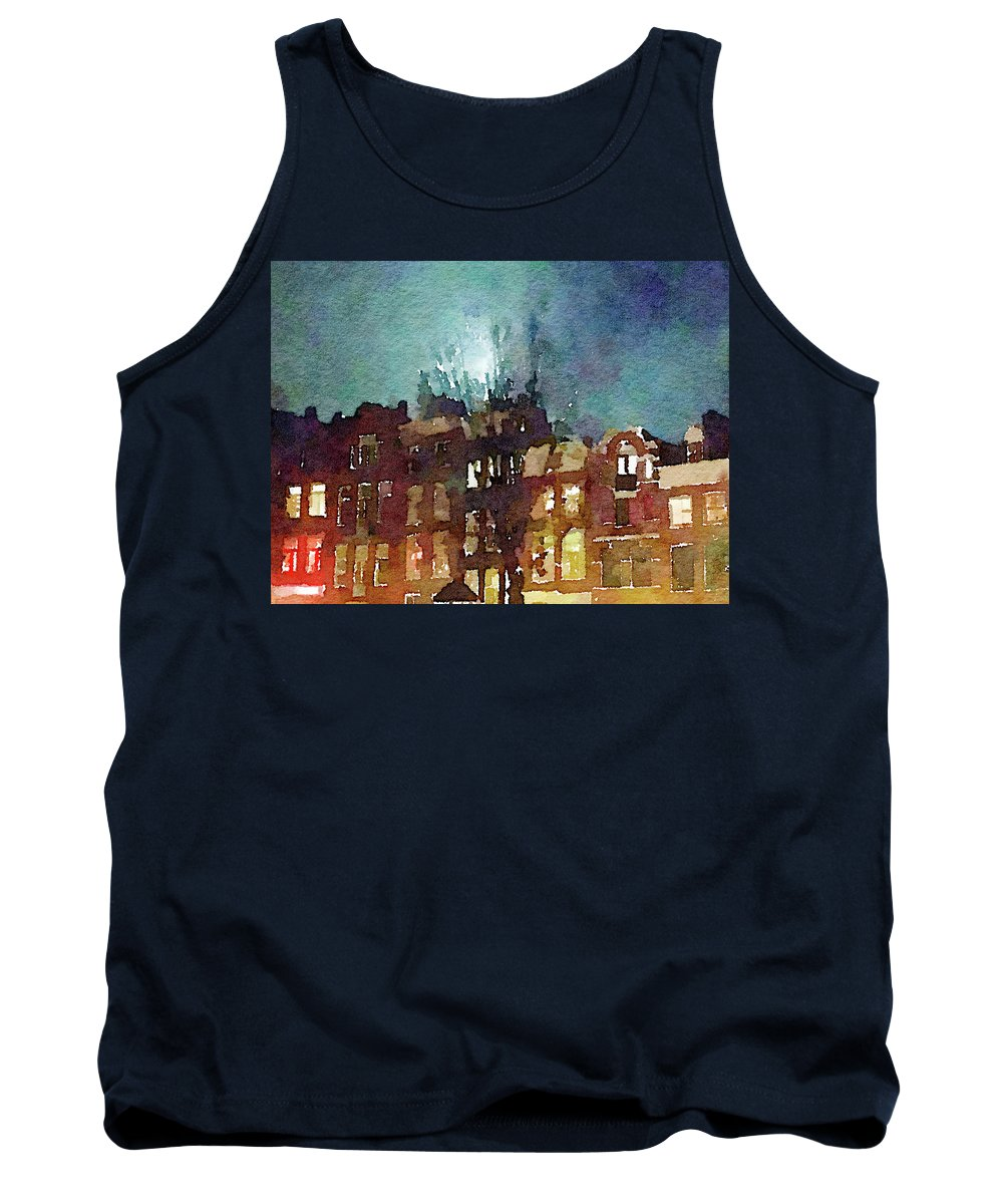 House Tank Top featuring the photograph Watercolor Painting Of Spooky Houses At Night by Anita Van Den Broek