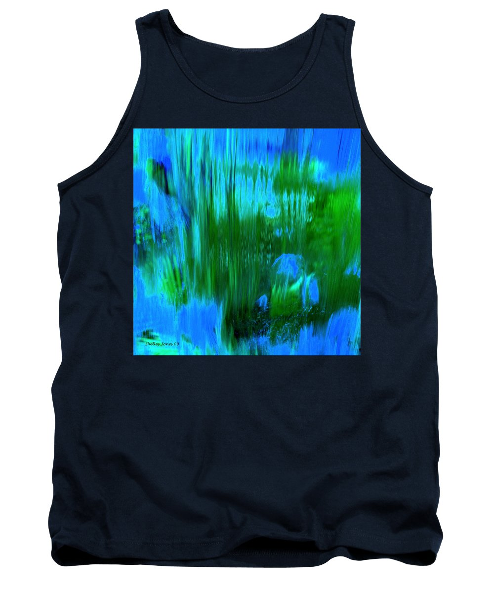 Digital Art Tank Top featuring the digital art Waterfall by Shelley Jones