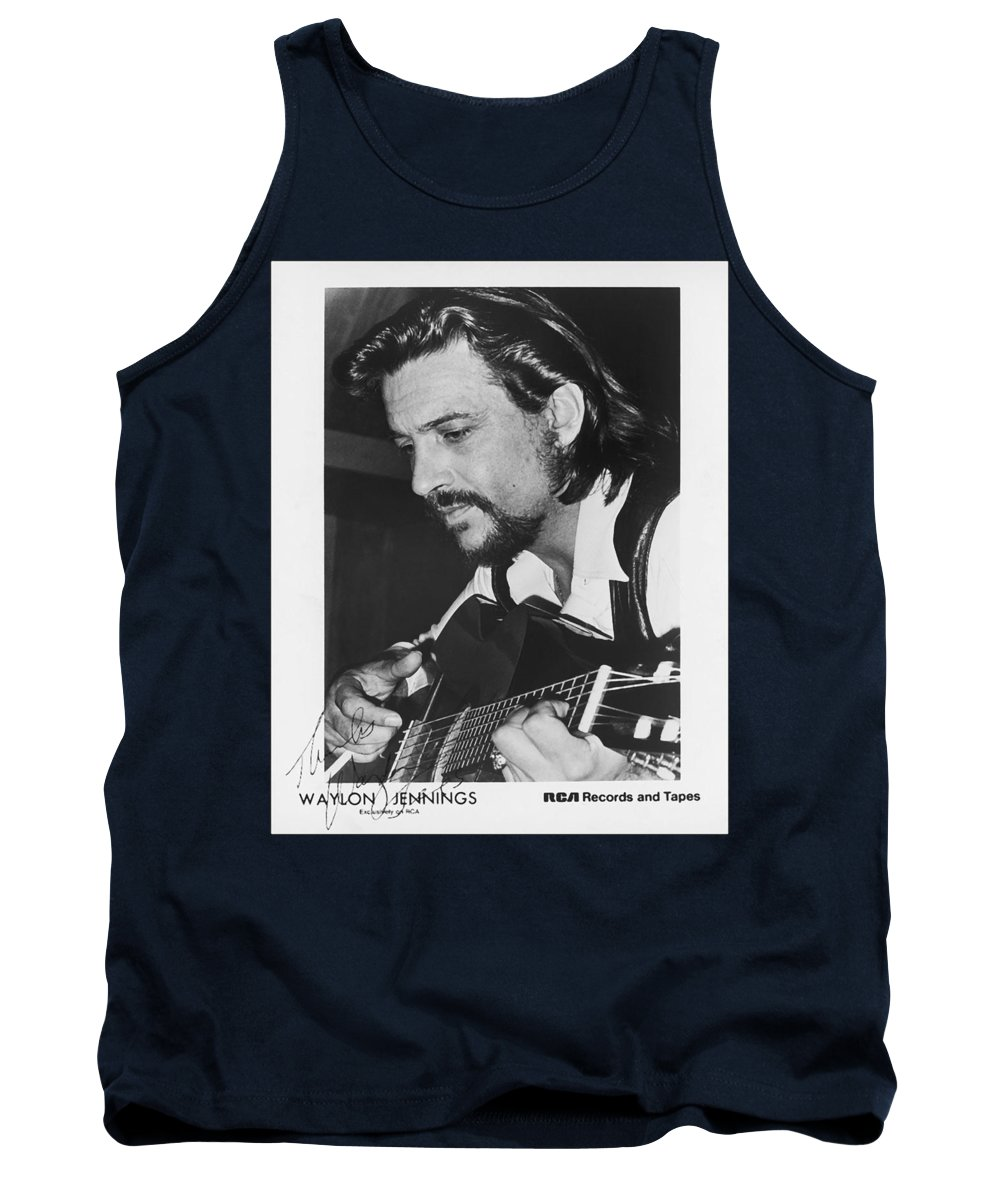 Publicity Photo Tank Top featuring the photograph Waylon Jennings 1971 Signed by Mountain Dreams