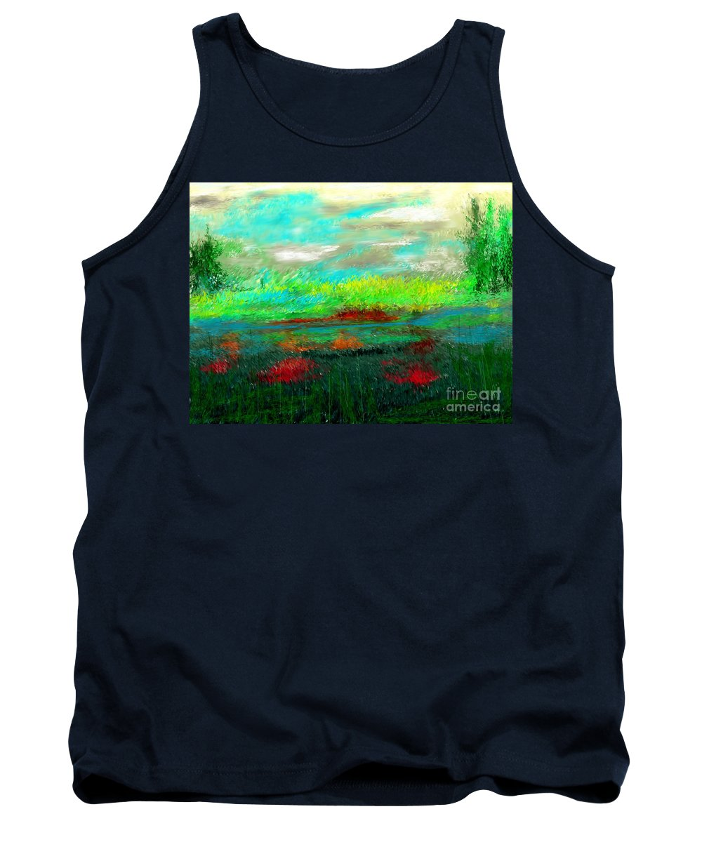 Nature Tank Top featuring the digital art Wetlands by David Lane
