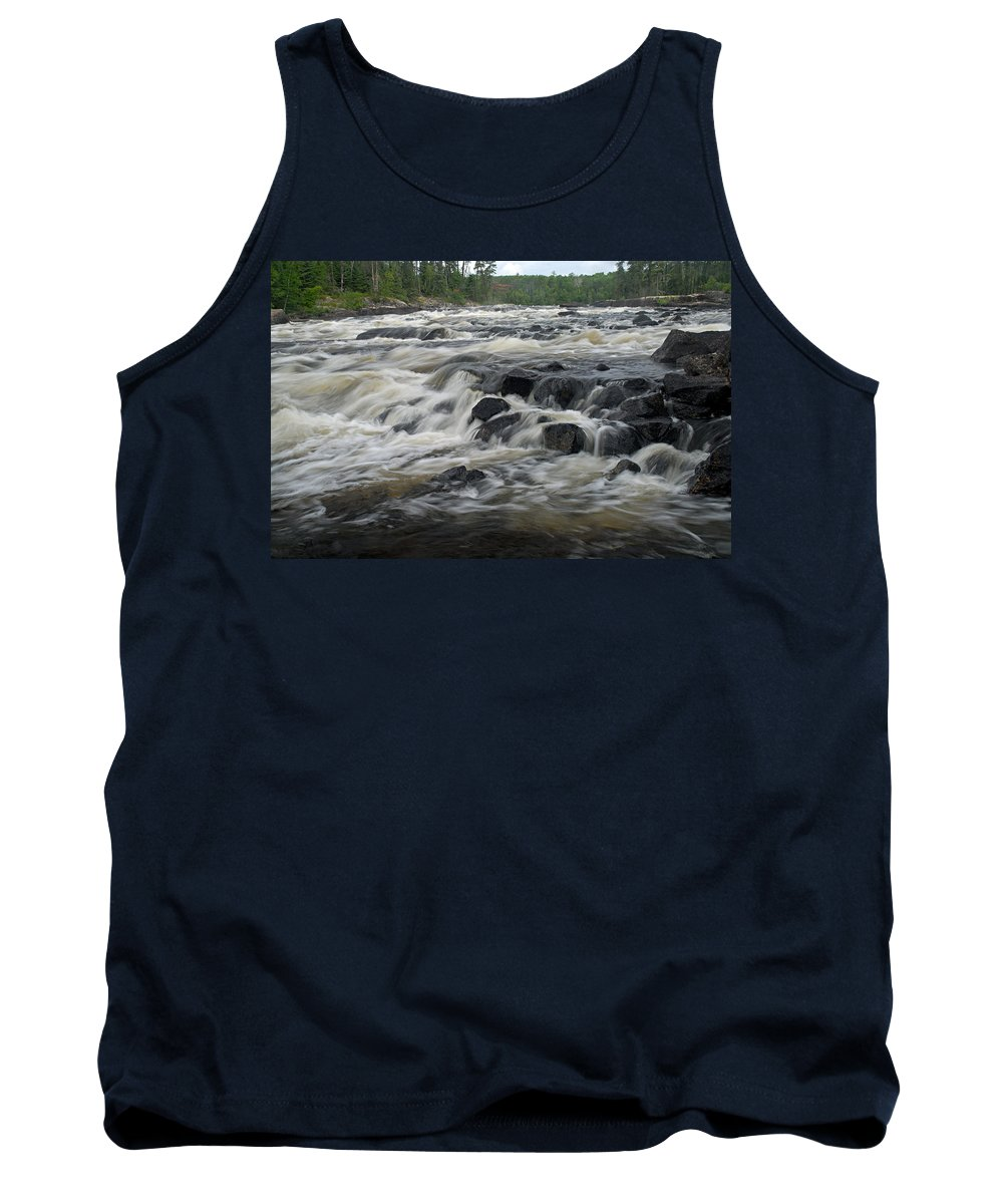 Boundary Waters Canoe Area Wilderness Tank Top featuring the photograph Wheelbarrow Falls by Larry Ricker