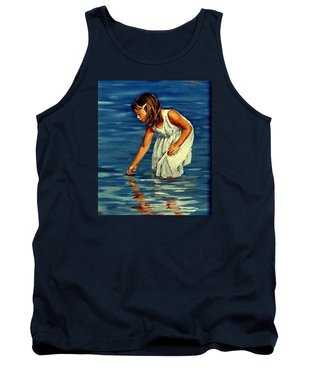 Girl Tank Top featuring the painting White Dress by Natalia Tejera