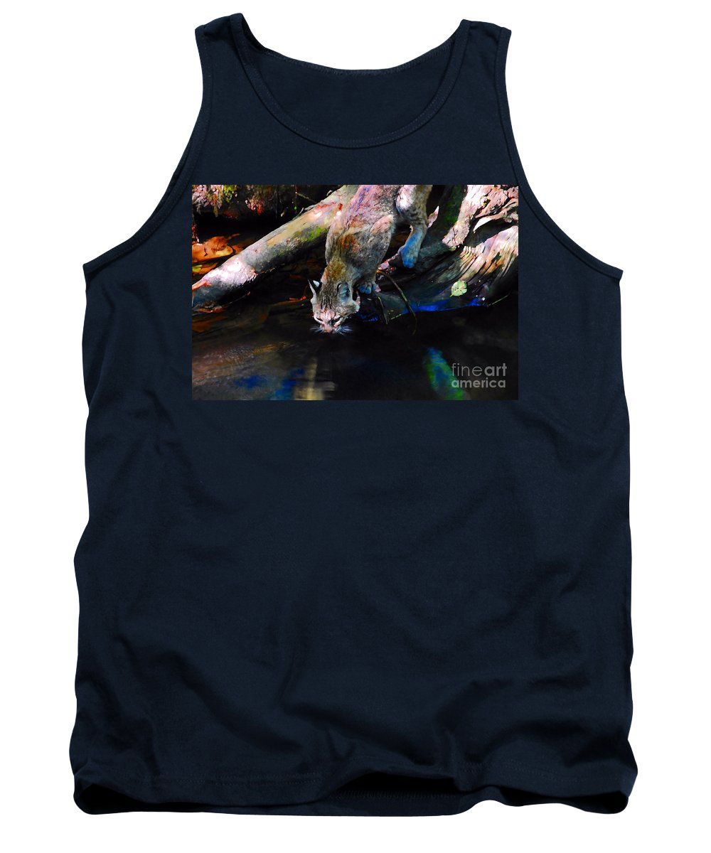 Cat.wild Tank Top featuring the photograph Wild Cat Drinking by David Lee Thompson