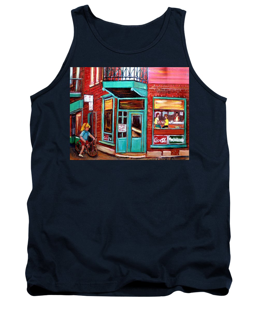 Wilensky\'s Cafe Tank Top featuring the painting Wilenskys Cafe On Fairmount In Montreal by Carole Spandau