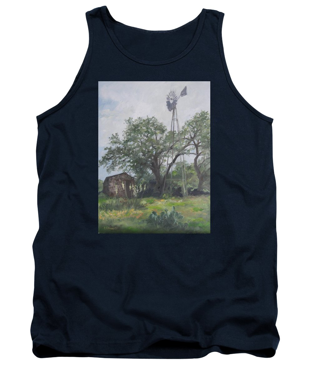 Texas Tank Top featuring the painting Windmill At Genhaven by Connie Schaertl