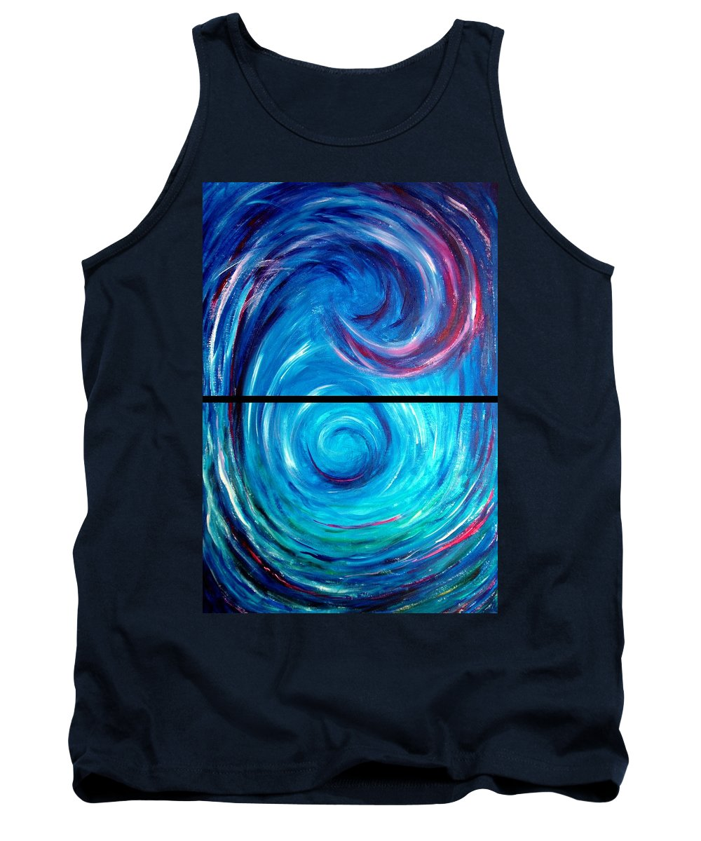 Blue Tank Top featuring the painting Windwept Blue Wave And Whirlpool Diptych 1 by Nancy Mueller