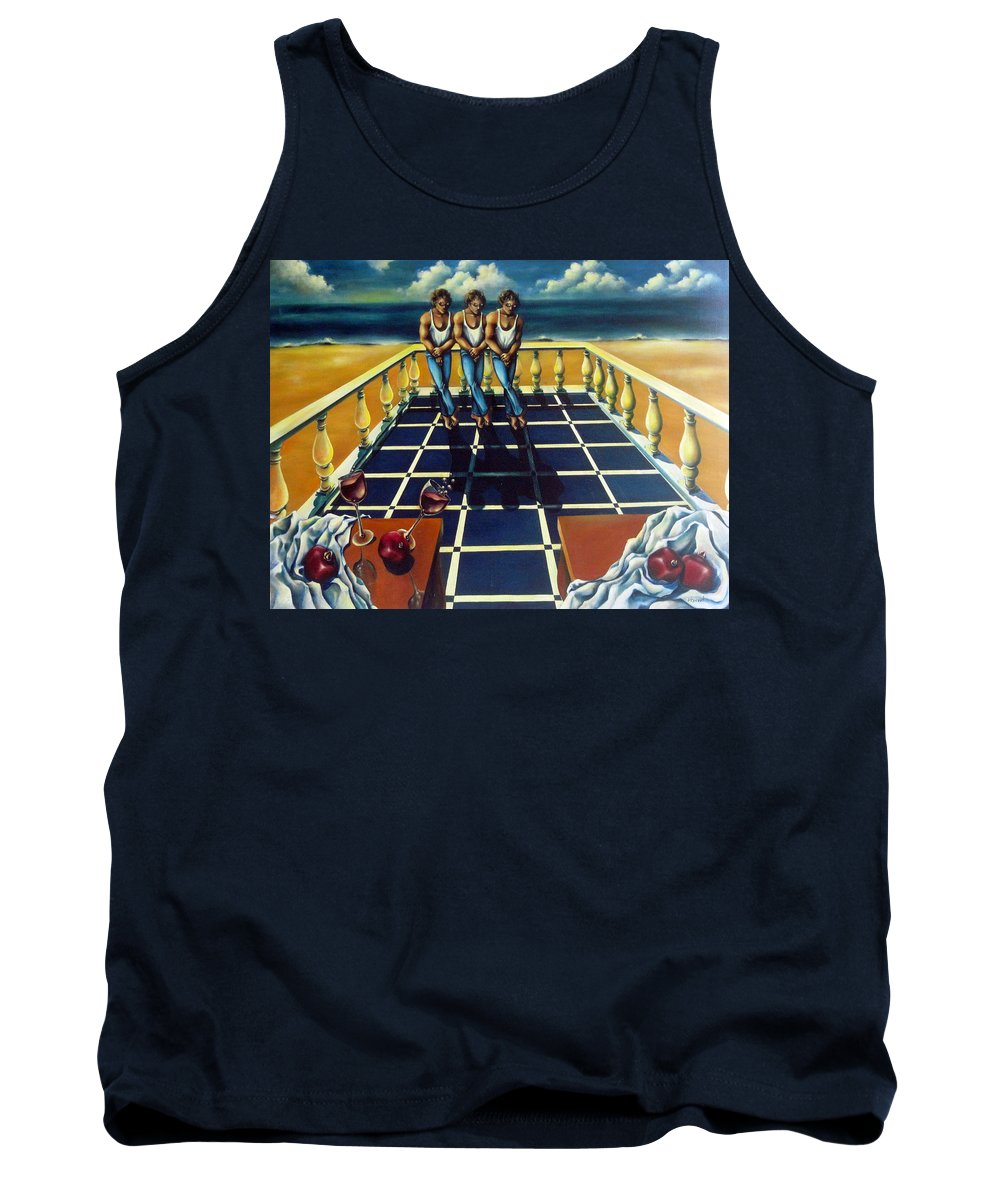 Surreal Tank Top featuring the painting Wine And Pomegranites by Valerie Vescovi
