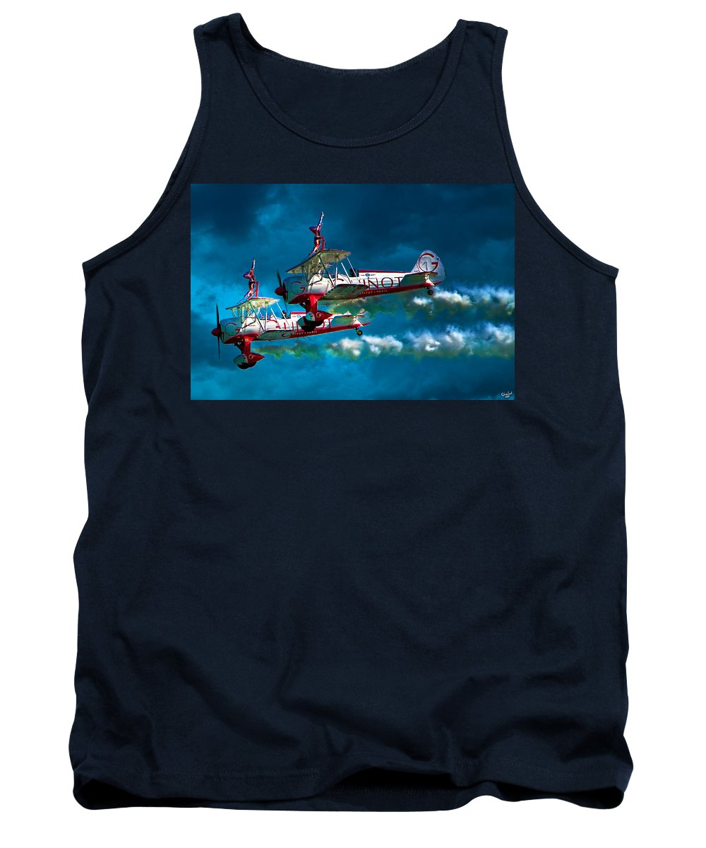 Biplane Tank Top featuring the photograph Wingwalkers by Chris Lord