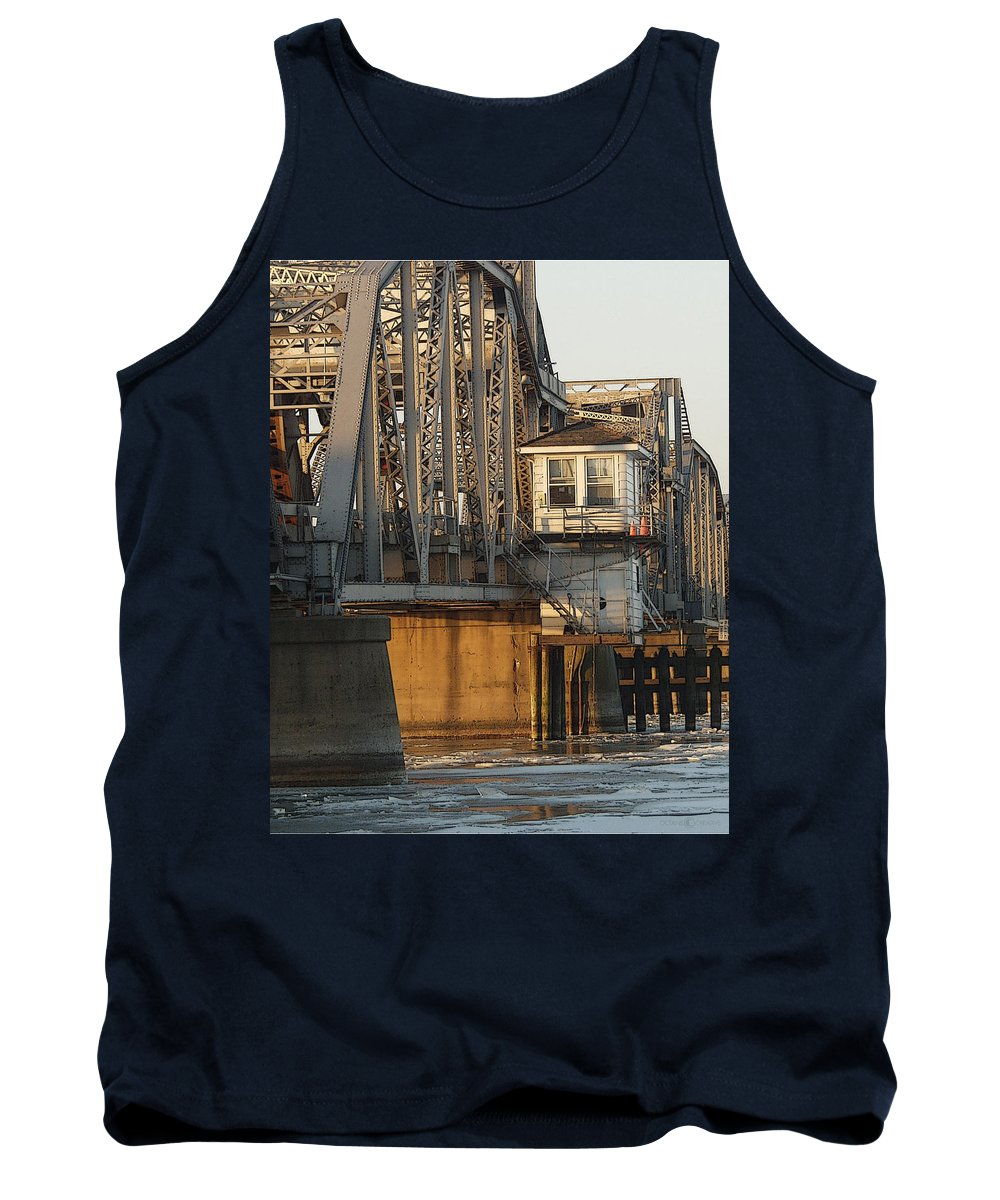 Bridge Tank Top featuring the photograph Winter Bridgehouse by Tim Nyberg