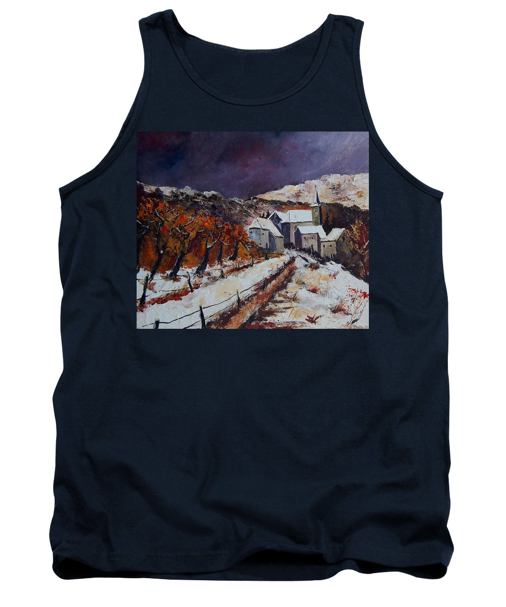Winter Tank Top featuring the painting Winter In Luxembourg by Pol Ledent