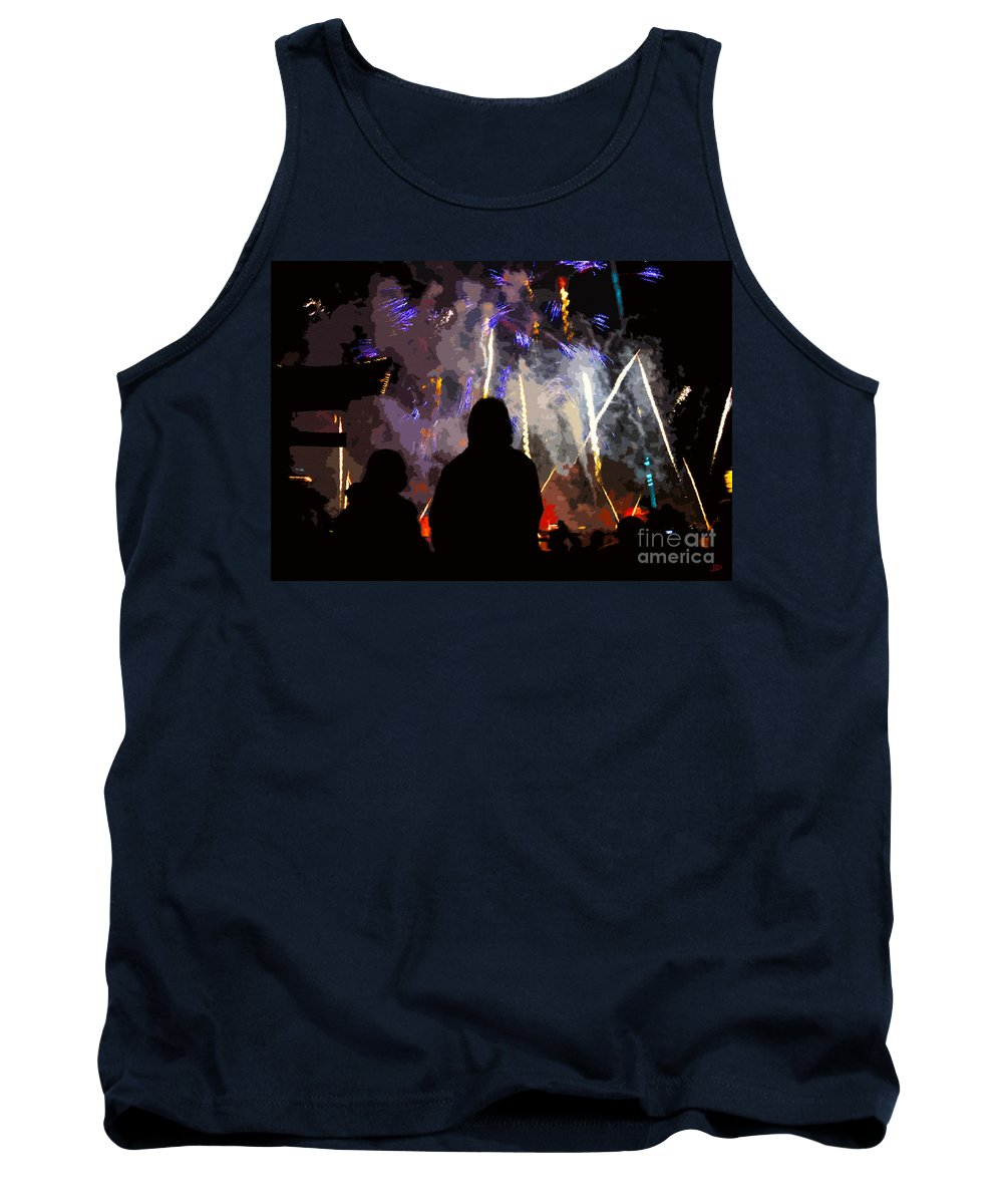 Fireworks Tank Top featuring the painting WOW by David Lee Thompson