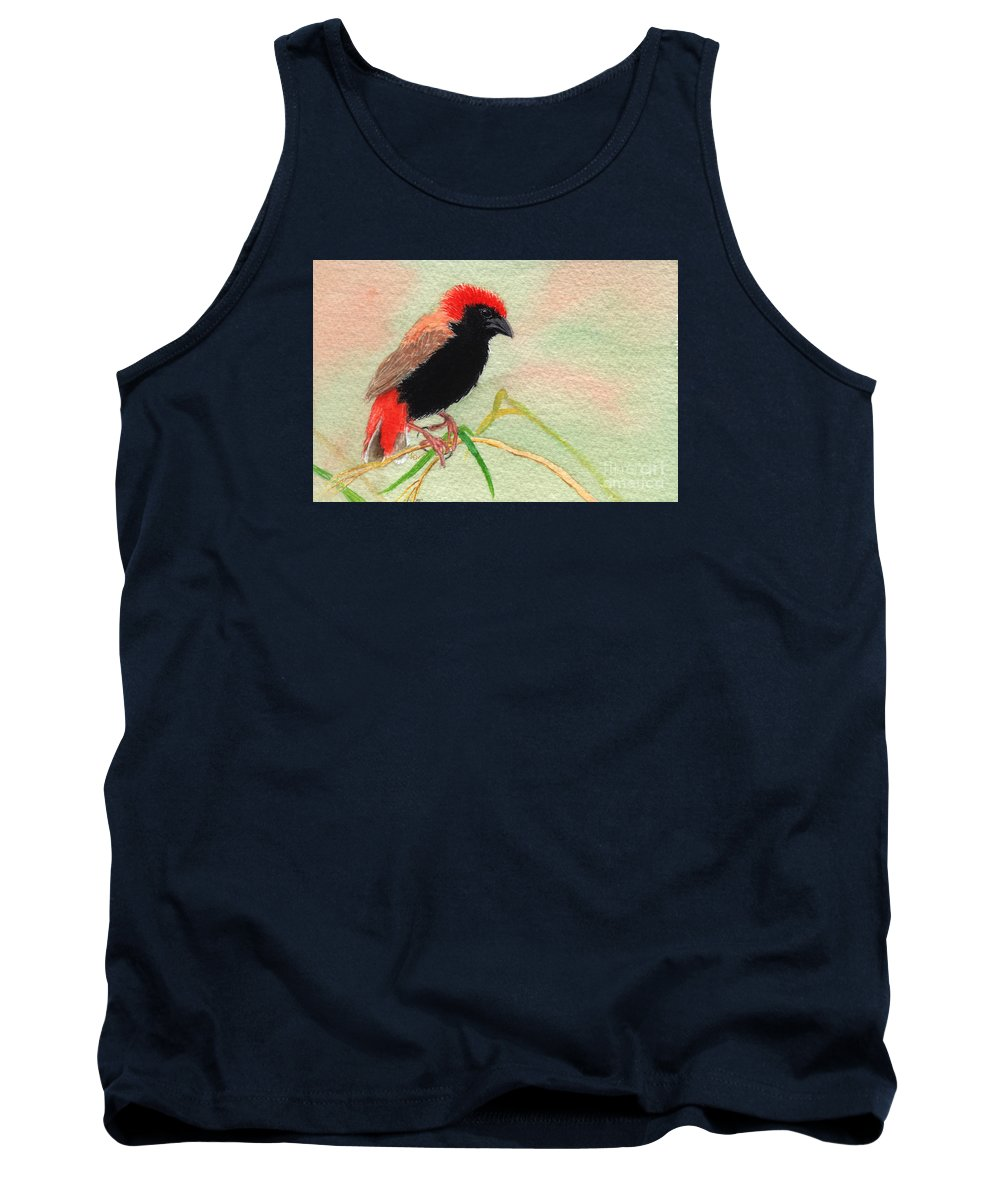 Bird Tank Top featuring the painting Zanzibar Red Bishop by Lynn Quinn