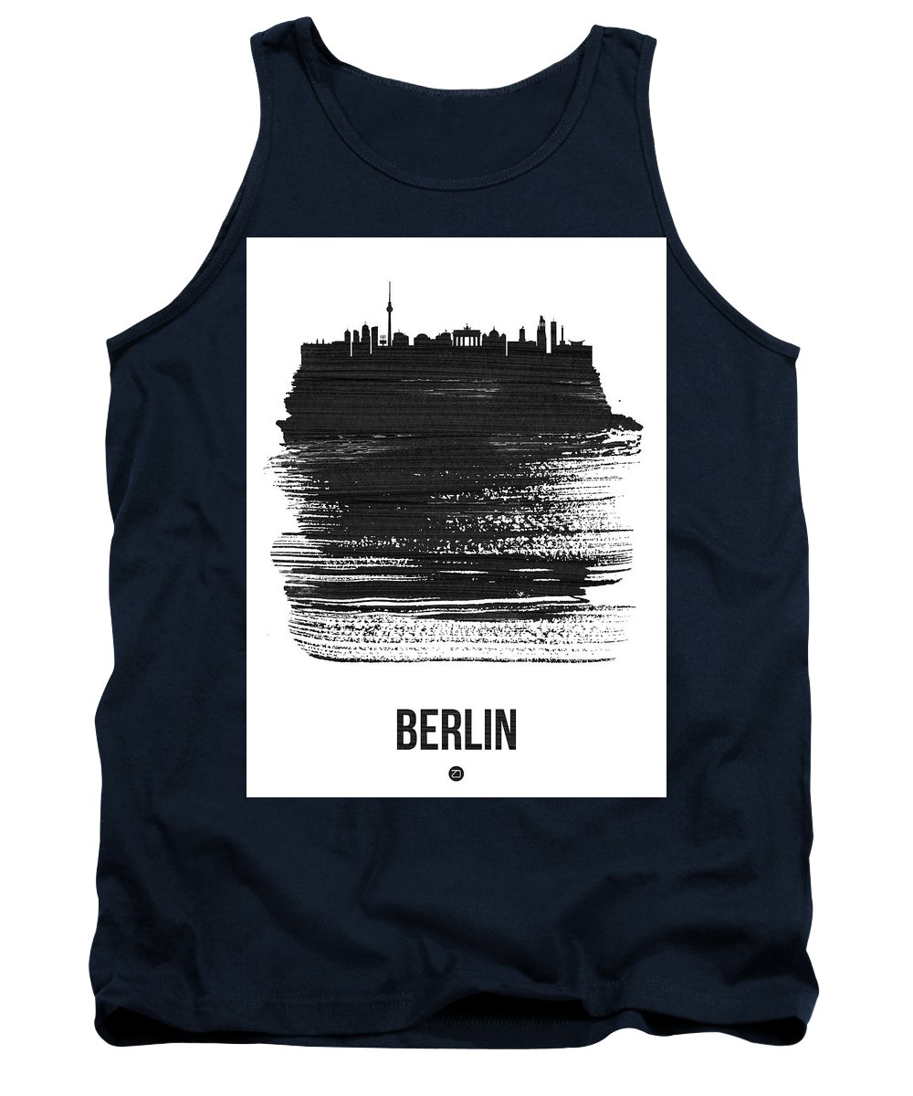 Tank Top featuring the mixed media Berlin Skyline Brush Stroke Black by Naxart Studio