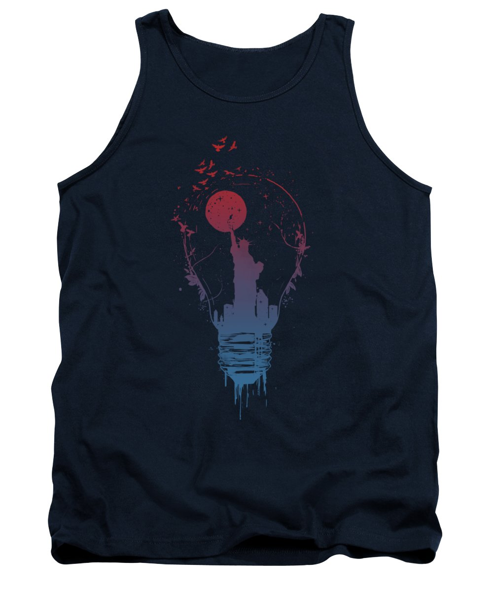 Light Tank Top featuring the mixed media Big city lights by Balazs Solti