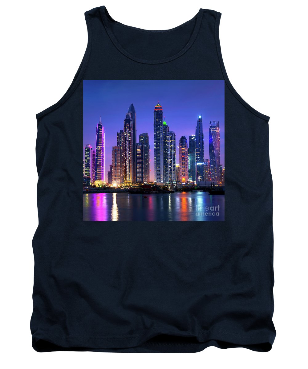 Dubai Tank Top featuring the photograph Dubai Marina Skyline At Night by Delphimages Photo Creations