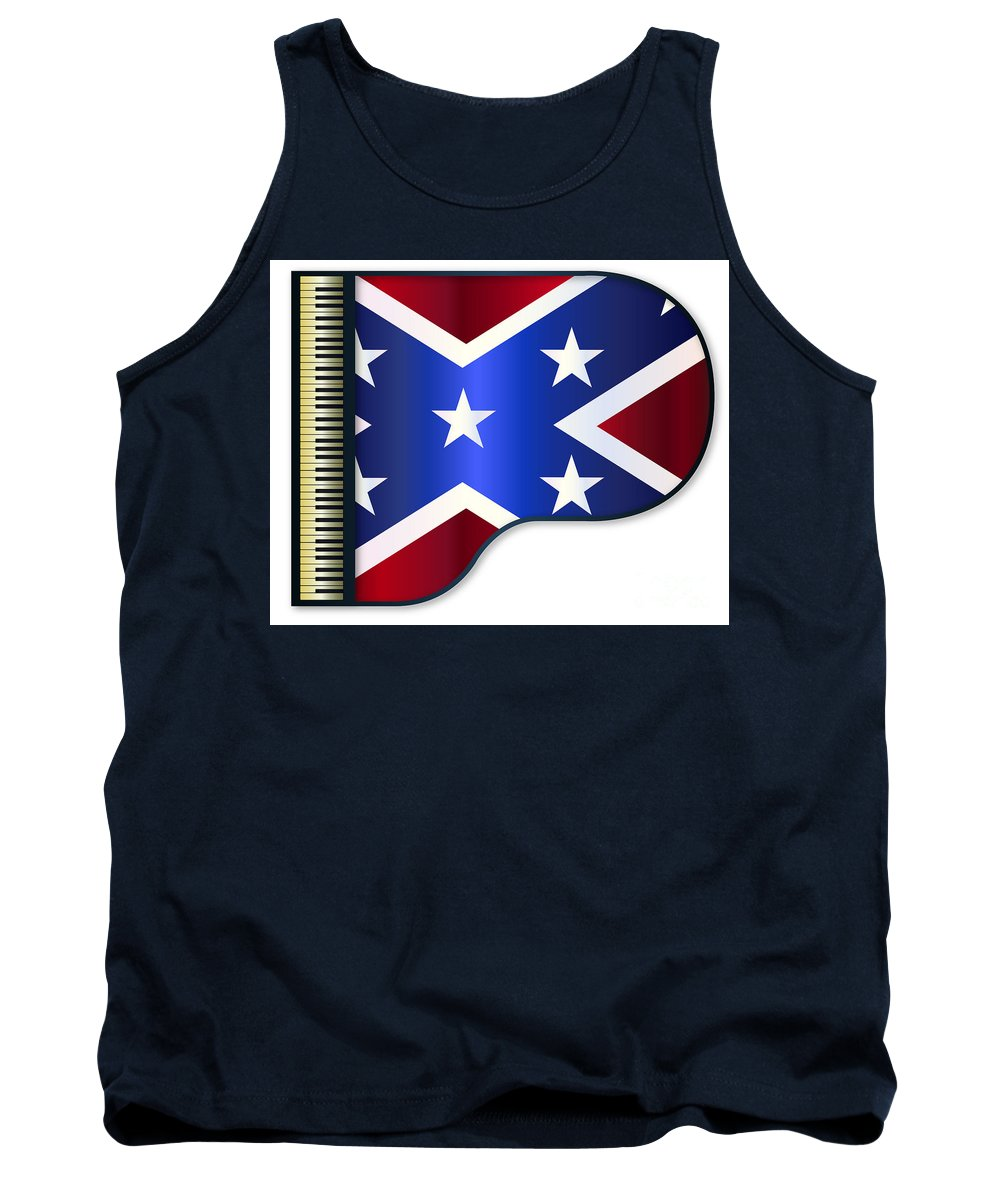 Grand Tank Top featuring the digital art Grand Piano Confederate Flag by Bigalbaloo Stock
