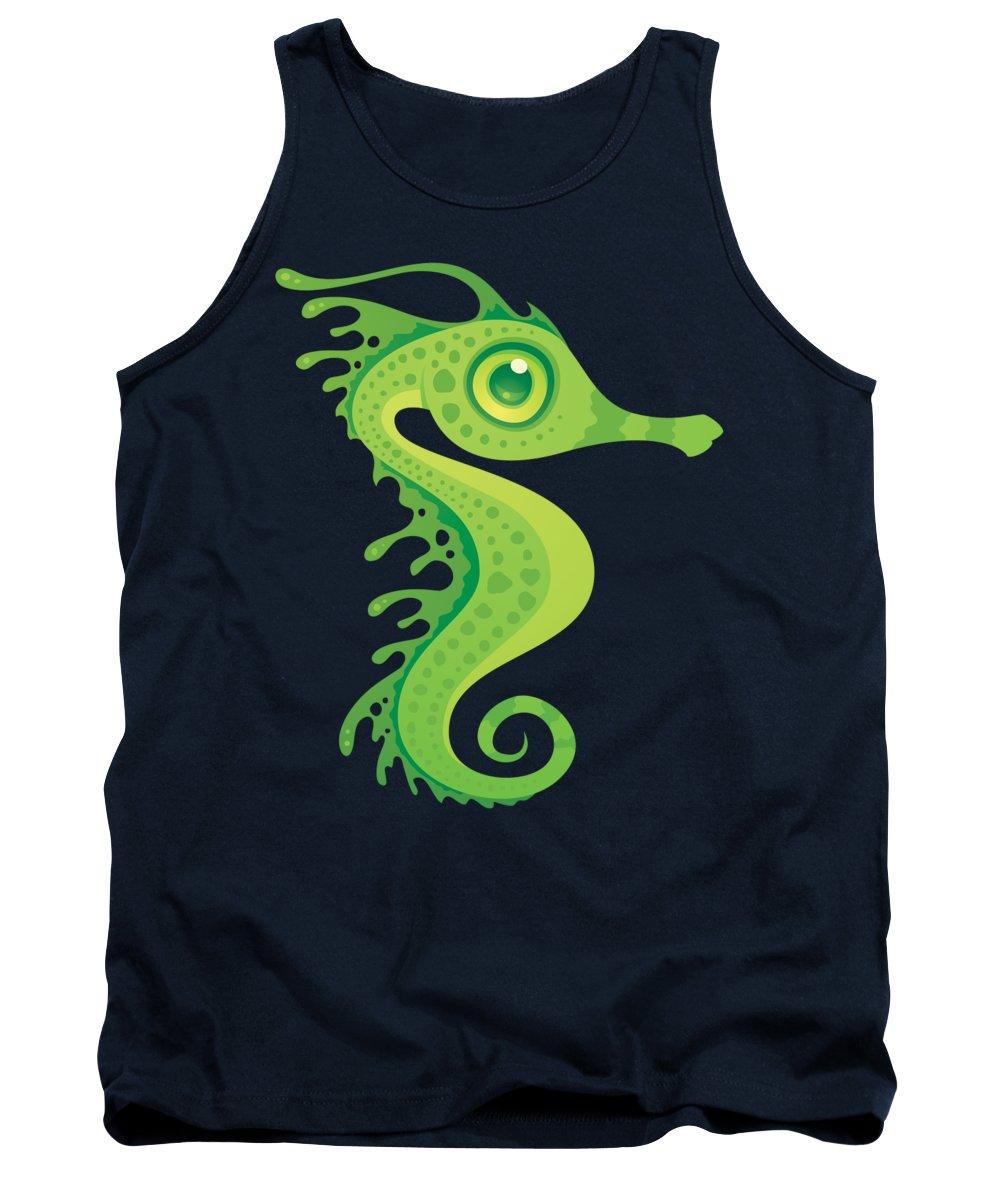Seahorse Tank Top featuring the digital art Leafy Sea Dragon Seahorse by John Schwegel