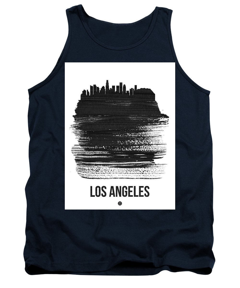 Los Angeles Tank Top featuring the mixed media Los Angeles Skyline Brush Stroke Black by Naxart Studio