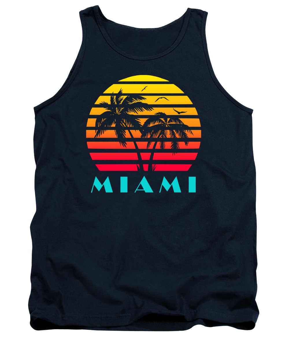 This Cool And Awesome Tee Shirt Features A Classic Vintage Sunset Inspired By Retro Vhs Tapes Of Famous Tv Shows And Movie Posters. Palm Trees And Seagulls In Front Of A Beautiful Tropical Sun That Glows In Yellow Tank Top featuring the digital art Miami 80s Tropical Sunset by Filip Schpindel