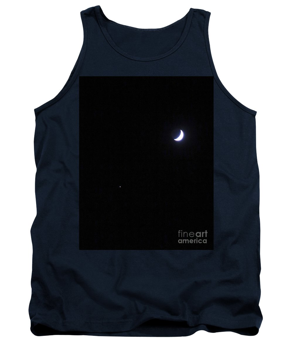I Walked Out There And There They Were Tank Top featuring the photograph Sept 13, 2018 Moon And Star by Phyllis Kaltenbach