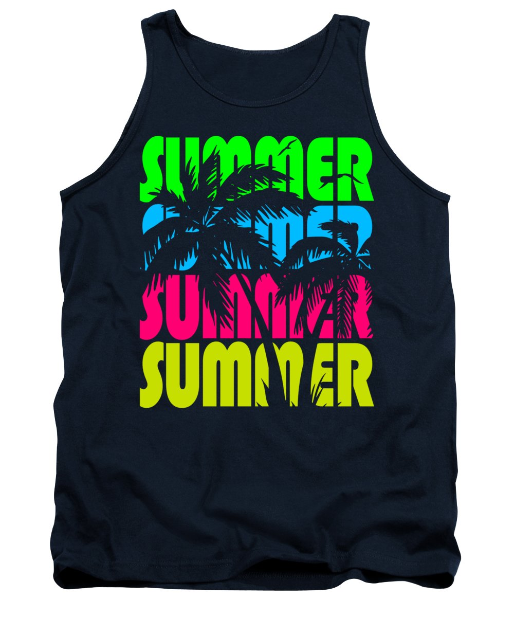 Sunset Tank Top featuring the digital art Summer Palm Trees by Filip Schpindel