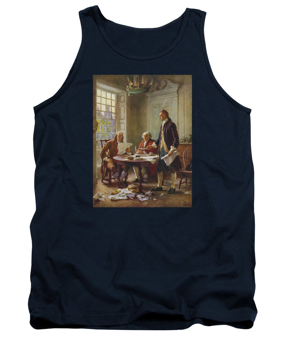 Declaration Of Independence Tank Top featuring the painting Writing The Declaration of Independence by War Is Hell Store