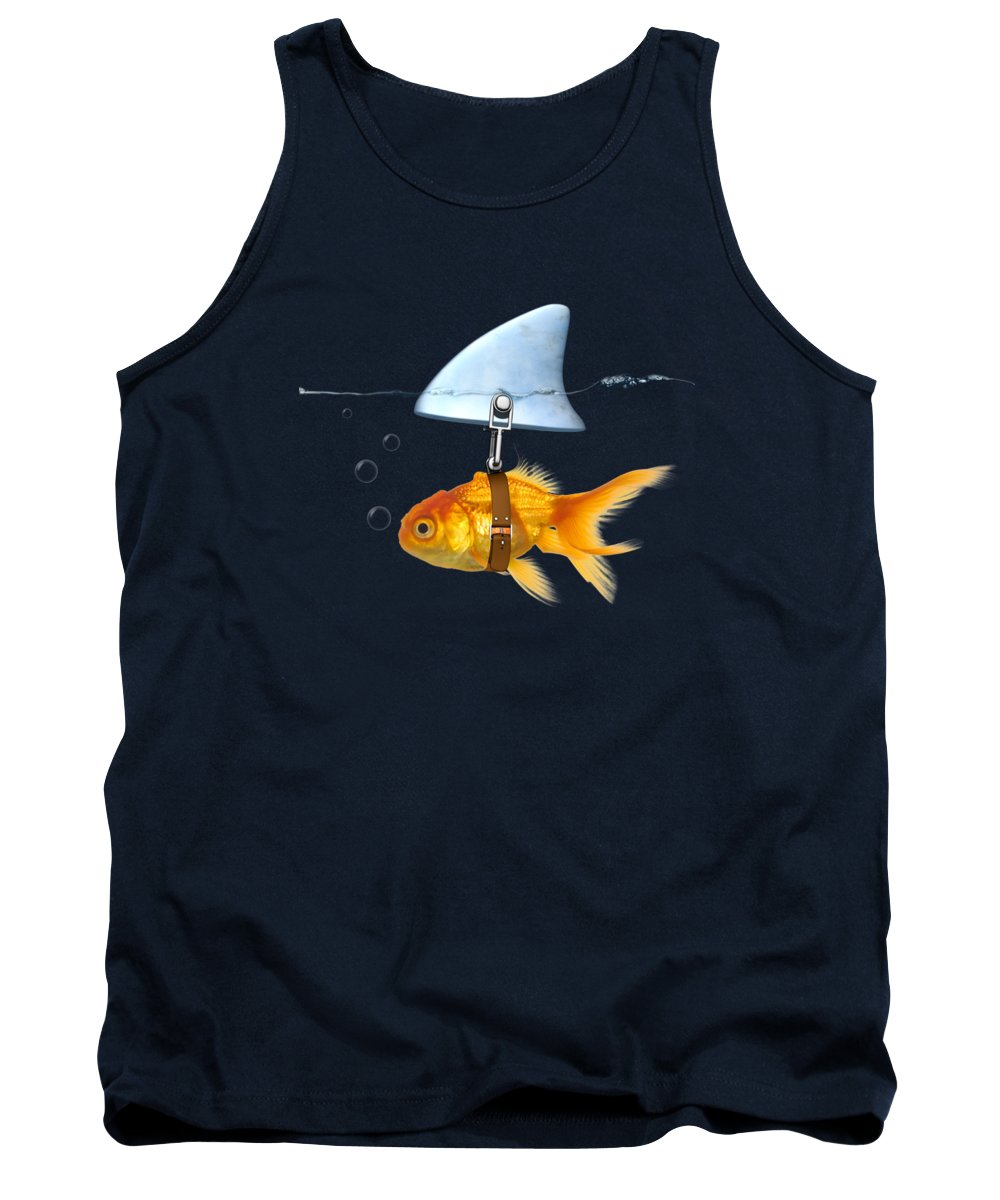 Gold Fish Tank Top featuring the digital art Gold Fish by Mark Ashkenazi