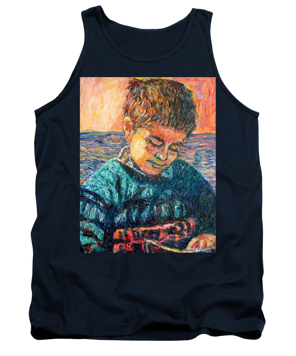 Portrait Tank Top featuring the painting Alan Reading by Kendall Kessler