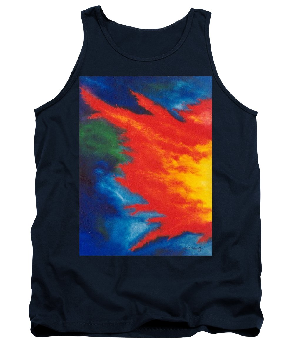 Fire Tank Top featuring the painting Blaze by Micah Guenther