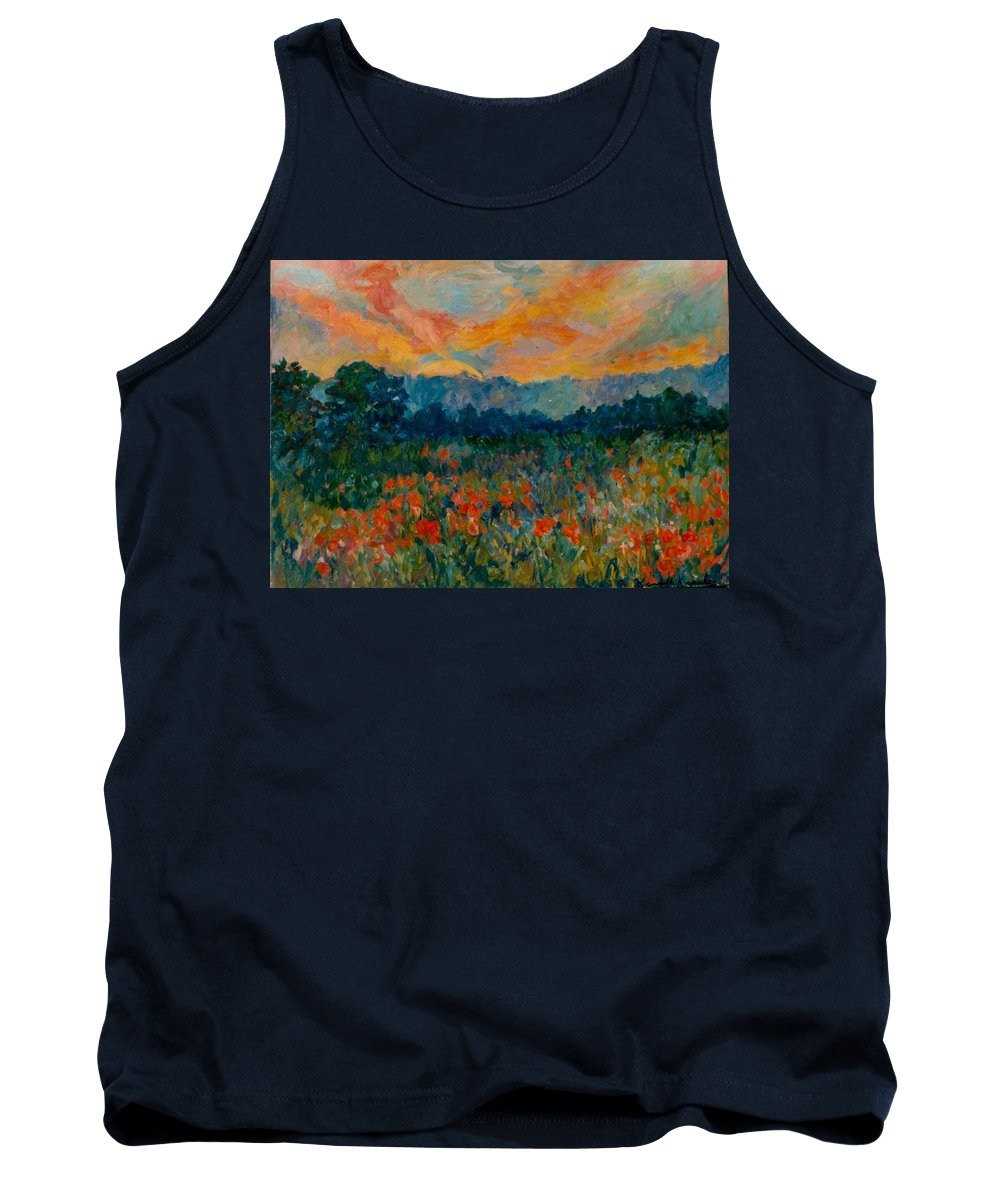 Landscape Tank Top featuring the painting Blue Ridge Sunset by Kendall Kessler