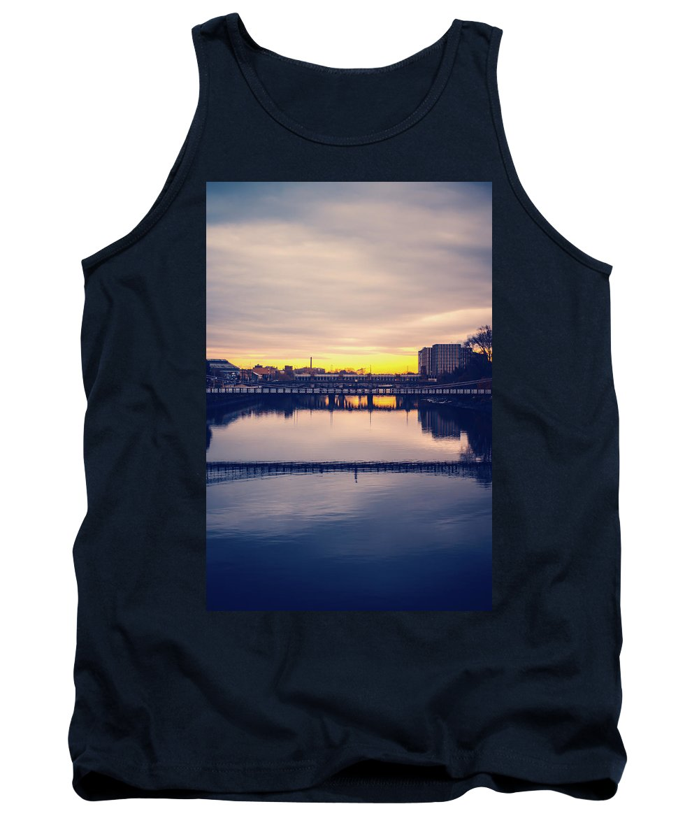 Architecture Tank Top featuring the photograph Bridges Across The River Clyde In Glasgow Scotland At Dawn by Yvonne Stewart