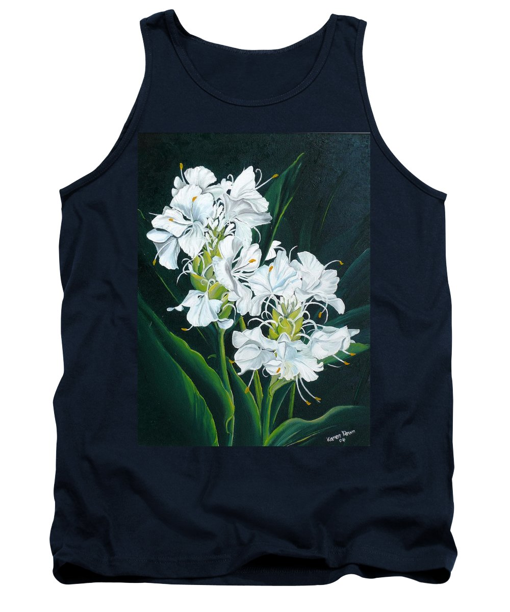 Caribbean Painting Butterfly Ginger Painting Floral Painting Botanical Painting Flower Painting Water Ginger Painting Or Water Ginger Tropical Lily Painting Original Oil Painting Trinidad And  Tobago Painting Tropical Painting Lily Painting White Flower Painting Tank Top featuring the painting Butterfly Ginger by Karin Dawn Kelshall- Best