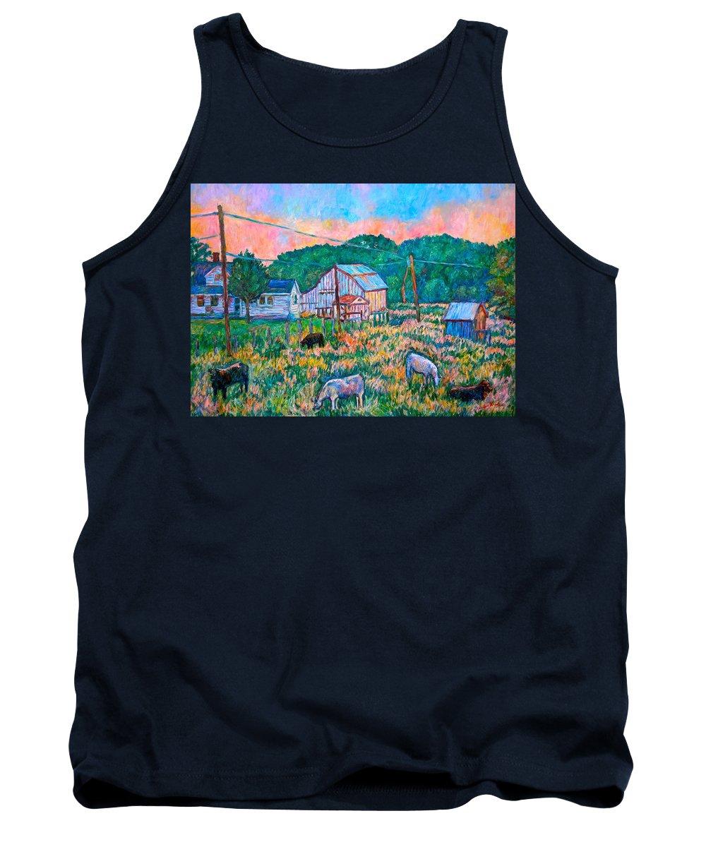 Landscape Tank Top featuring the painting Farm Near Fancy Gap by Kendall Kessler