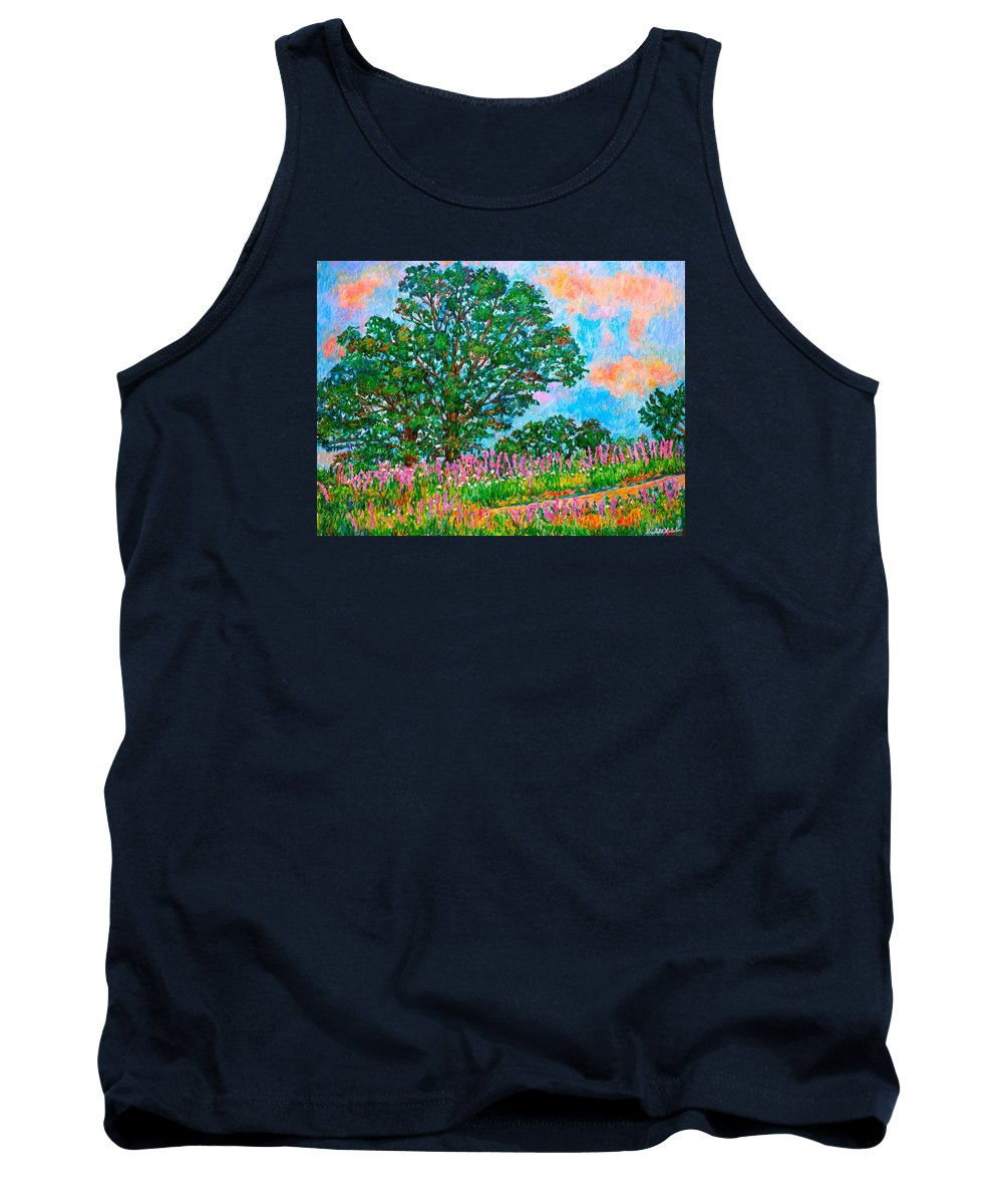 Landscape Tank Top featuring the painting Liatris Flowers at Doughton Park by Kendall Kessler