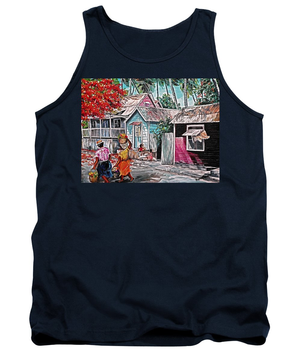 Market Women Painting Barbados Painting Islands Painting  Poinciana Painting Houses Painting Poinciana Painting Caribbean Painting Tropical Painting Tank Top featuring the painting Marketday Barbados by Karin Dawn Kelshall- Best