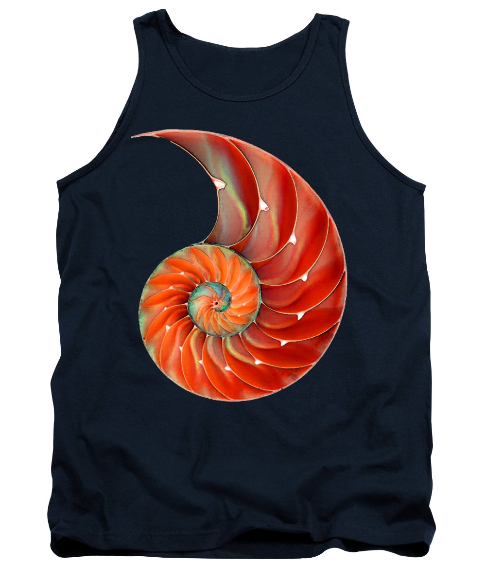 Nautilus Tank Top featuring the painting Nautilus Shell - Nature's Perfection by Sharon Cummings