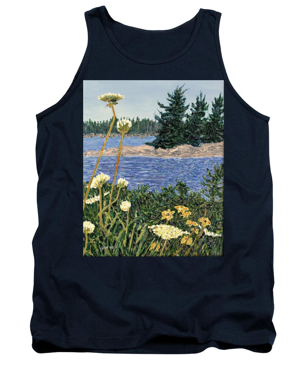 Northern Ontario Tank Top featuring the painting North Channel Lake Huron by Ian MacDonald