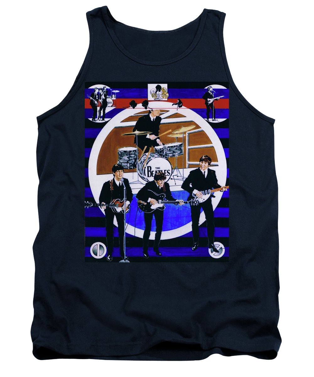 The Beatles Live Tank Top featuring the drawing The Beatles - Live On The Ed Sullivan Show by Sean Connolly