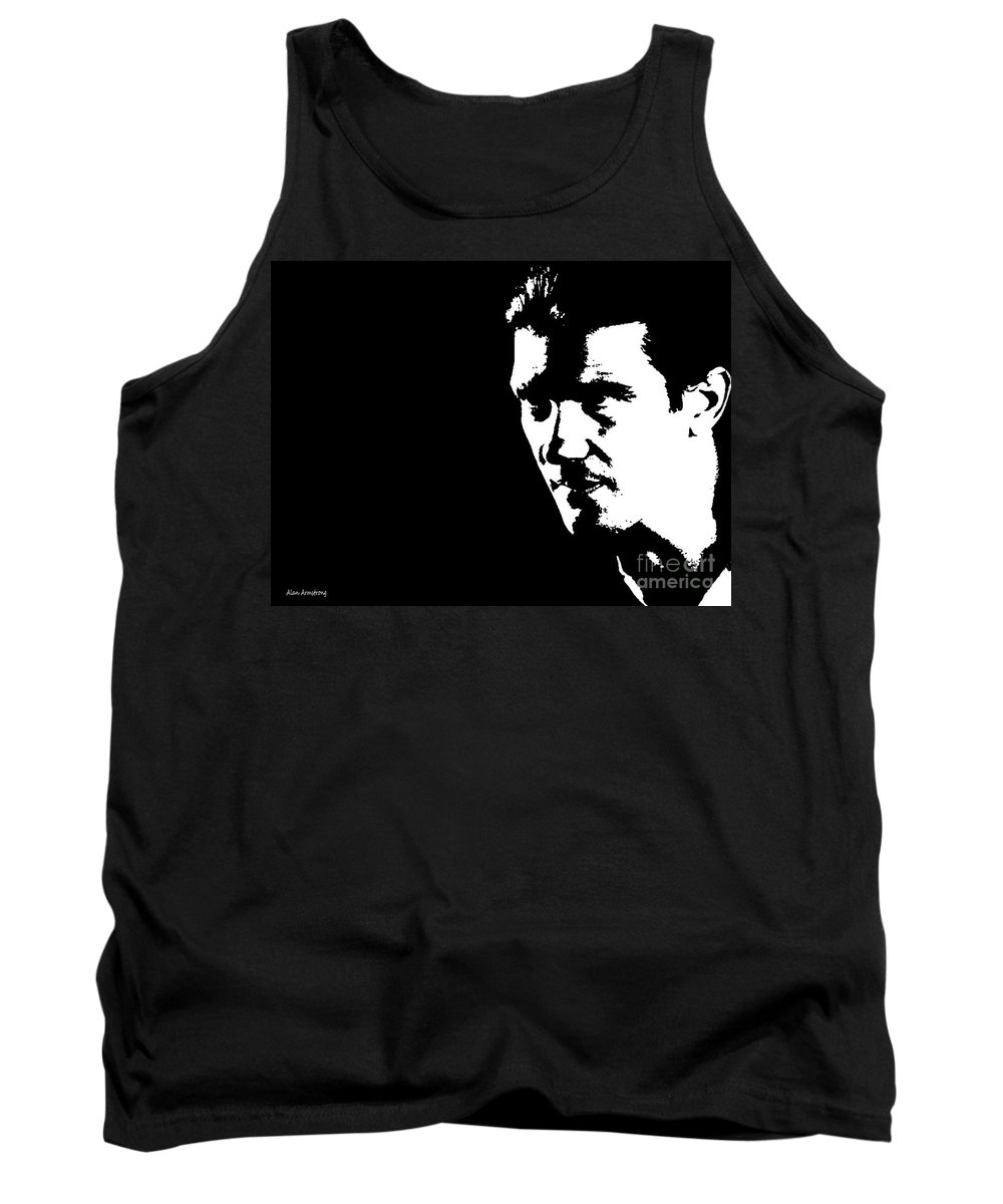 Tank Top featuring the digital art # 1 Antonio Banderas Portrait. by Alan Armstrong