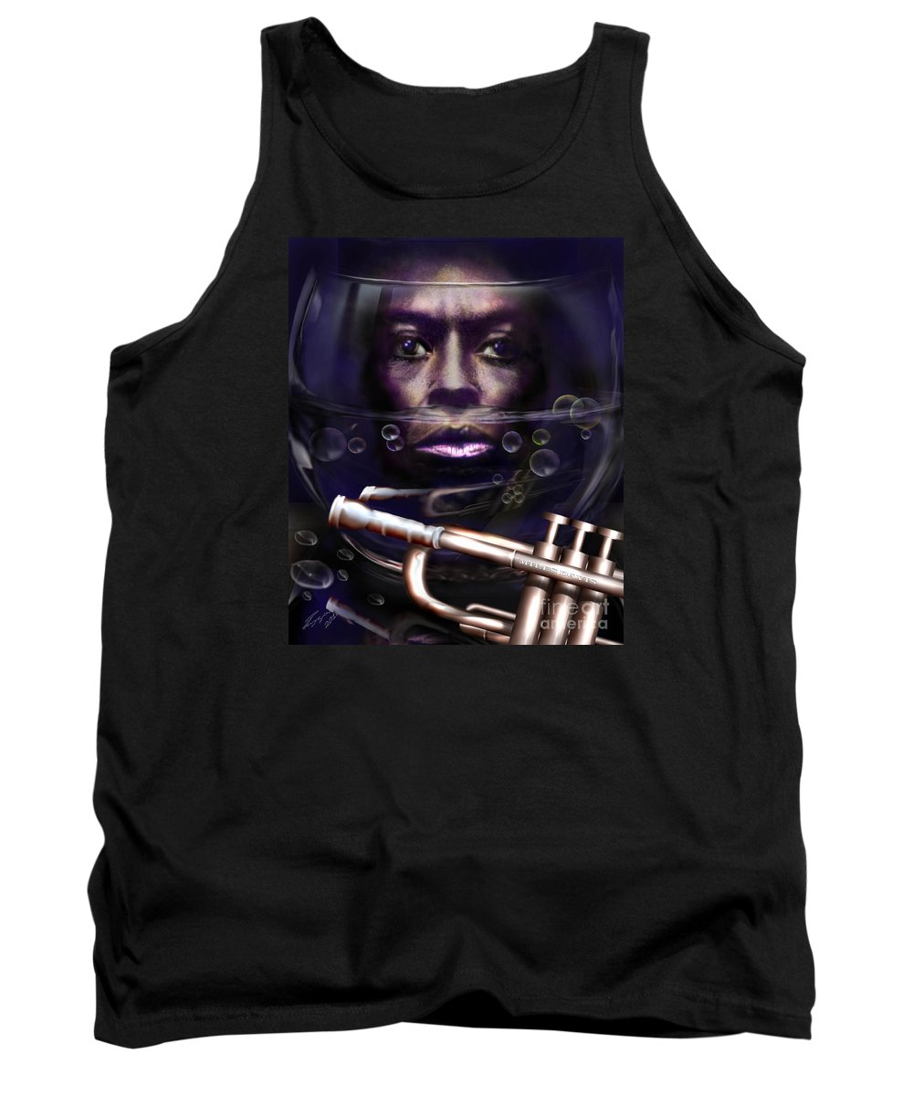 Miles Davis Tank Top featuring the painting Fish Bowl Of Miles by Reggie Duffie